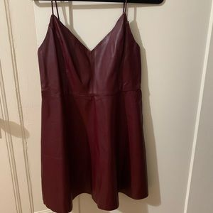 Pleather maroon skater dress